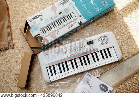 Paris, France - Sep 8, 2021: View From Above Of New Yamaha Remie Digital Keyboard Pss-e30 For Kids W