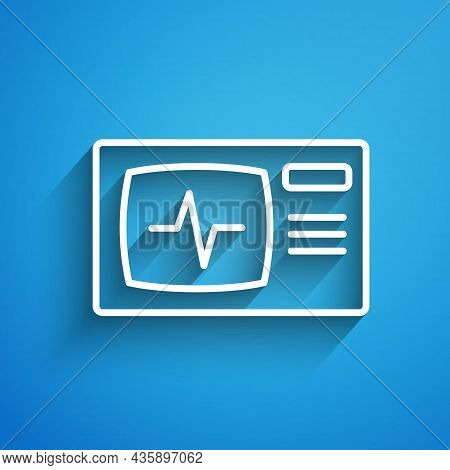 White Line Computer Monitor With Cardiogram Icon Isolated On Blue Background. Monitoring Icon. Ecg M