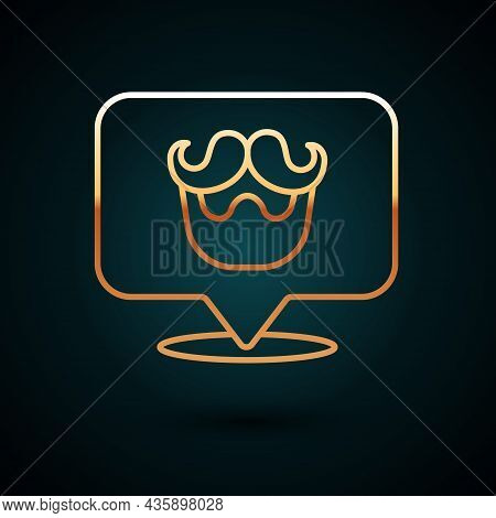 Gold Line Barbershop Icon Isolated On Dark Blue Background. Hairdresser Logo Or Signboard. Vector