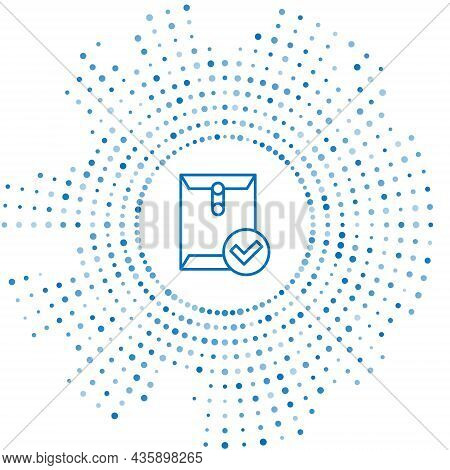 Blue Line Envelope And Check Mark Icon Isolated On White Background. Successful E-mail Delivery, Ema