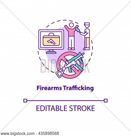 Firearms Trafficking Concept Icon. Security Guard Searching For Weapons. Arrest Smuggler. Deportatio