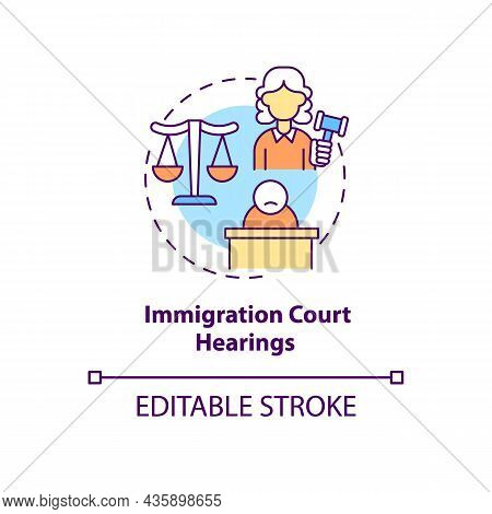 Immigration Court Hearings Concept Icon. Judicial Procedure On Immigration Cases. Deportation Abstra