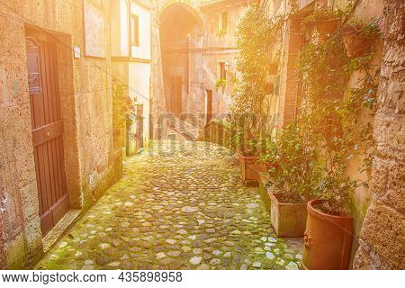 Narrow Street Of Medieval Ancient Tuff City Sorano With Green Plants And Cobblestone, Travel Italy B