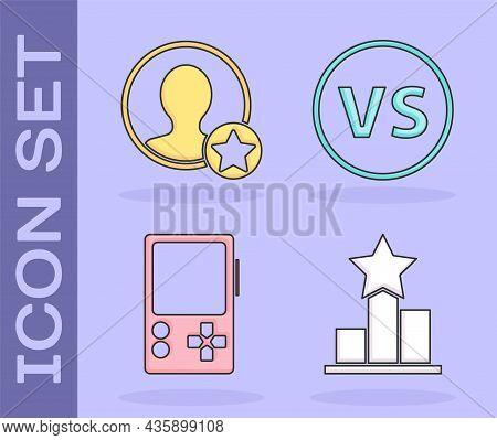 Set Star, Premium Create Account Screen, Portable Video Game Console And Vs Versus Battle Icon. Vect