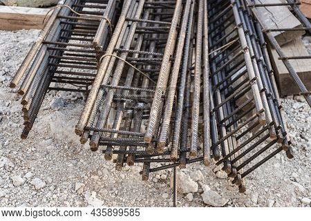 Steel Frames And Reinforcing Mesh Are Stored At The Construction Site. Preparation For The Installat
