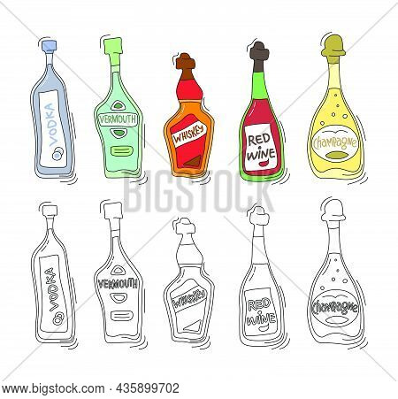 Vodka, Vermouth, Whiskey, Red Wine, Champagne Bottle On White Background. Two Kinds Beverage. Cartoo