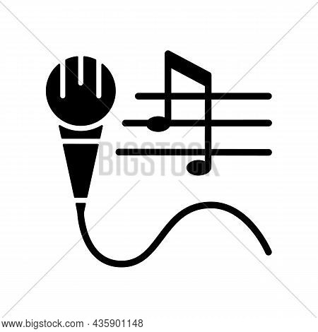 Talent For Singing Black Glyph Icon. Vocal Lessons And Training. Performing Song And Music. Talented