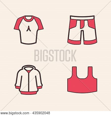 Set Undershirt, T-shirt, Short Or Pants And Hoodie Icon. Vector