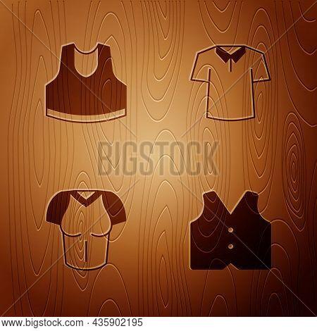 Set Waistcoat, Undershirt, T-shirt And Shirt On Wooden Background. Vector