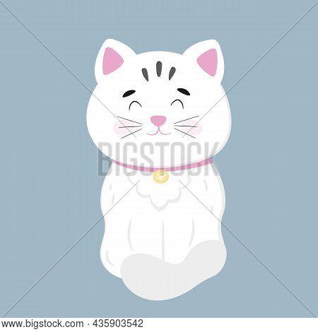 Cute White Kitty In Cartoon Style. Vector Illustration