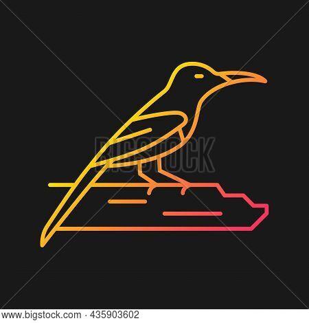 Crimson Sunbird Gradient Vector Icon For Dark Theme. Tropical Asian Bird. Singapore National Symbol.
