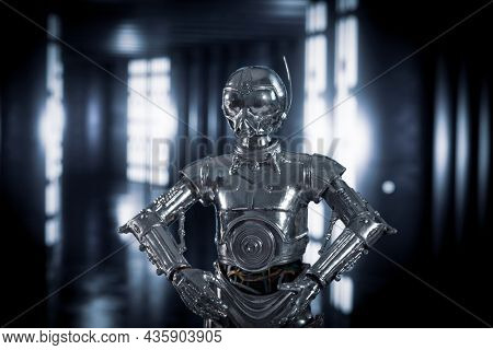 OCT 11 2021: Star Wars RA-7 protocol droid - Death Star droid - Customized action figure
