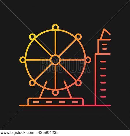 Singapore Flyer Gradient Vector Icon For Dark Theme. Large Observation Wheel. Amusement Ride. Theme