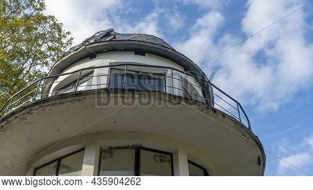 Building Of Planetarium In Minsk, Belarus. Old Observatory On Blue Sky Background. Scientific Concep