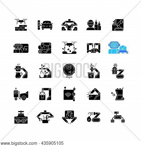 Automation Black Glyph Icons Set On White Space. Advanced Manufacturing. Improve Everyday Life. Usin