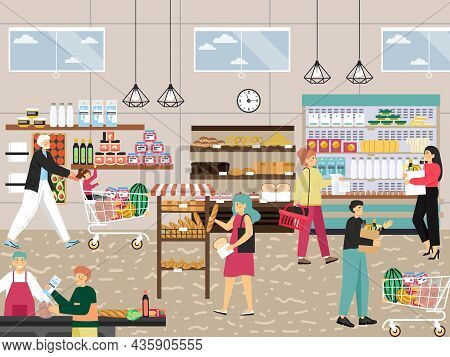 Shoppers In Supermarket, Grocery Store, Food Shop, Vector Illustration. People Buying Fruit, Fresh B