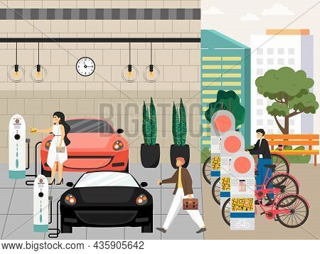People Charging Cars, Electric Vehicle Charging Station, Vector Illustration. Ev Charger, Bicycle Pa