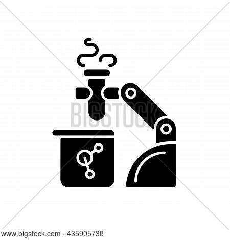 Robotic Lab Assistance Black Glyph Icon. Automated Laboratory Assistant. Lab Automation Solution. Pe
