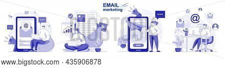 Email Marketing Isolated Set In Flat Design. People Send Advertising Mailings, Business Promotion, C