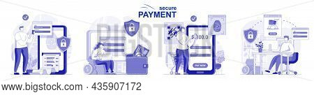 Secure Payment Isolated Set In Flat Design. People Make Safe Financial Transactions, Online Banking,