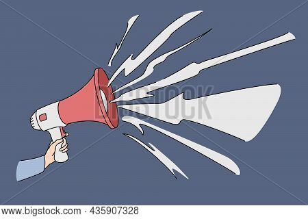 Hand With Speaking Loudly Megaphone. Vector Concept Illustration Of Advertisement Promotional Market