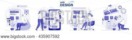 Web Design Isolated Set In Flat Design. People Create And Place Graphic Elements At Site Layout, Col