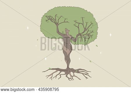 Woman Shape Being A Natural Forest Tree. Vector Concept Illustration Of Nature And Human Balance By