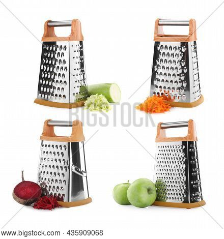 Set With Stainless Steel Graters And Fresh Products On White Background