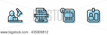 Set Line Information, Crime News, Retro Typewriter And Journalist Id Card Icon. Vector