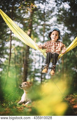 Small kid in yellow hammock with white dog puppy breed jack russel terrier in autumn forest. Childhood with pets concept