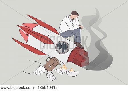 Failed And Crashed Business Rocket Startup. Vector Concept Illustration Of Sad Business Manager Stan