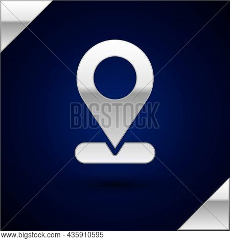 Silver Map Pin Icon Isolated On Dark Blue Background. Navigation, Pointer, Location, Map, Gps, Direc