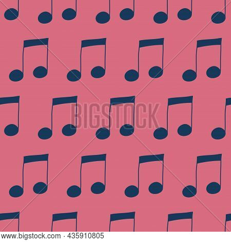 Music Notes Seamless Pattern On Pink Background, Musical Note Composition, Vector Illustration For T
