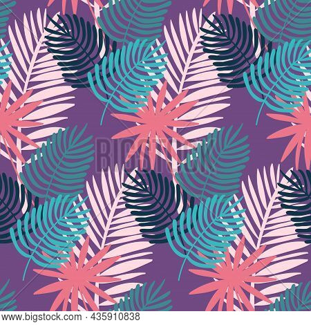 Monstera And Palm Seamless Pattern, Tropical Purple Lilac Leaf, Vector Illustration