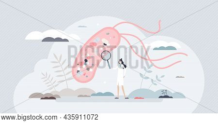 Mechanism Of Antibiotic Resistance Development In Bacteria Cell Tiny Person Concept. Female Scientis