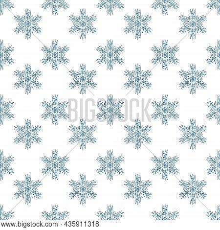Festive Snowflake Seamless Pattern, Geometric Mandala Snowflake Design Element, Vector