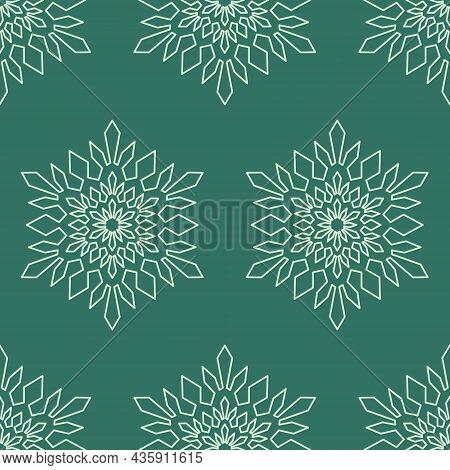 Snowflake Mandala Seamless Pattern, Geometric Snowflake Simple Design Green Symbol, Vector Illustrat