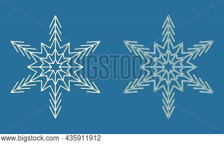 Symmetrical Snowflake, Winter Icy Snowflake Icon, Vector Illustration