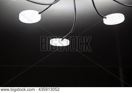 Modern Led Chandelier On The Ceiling Of The House. Lighting With Diodes, Close-up