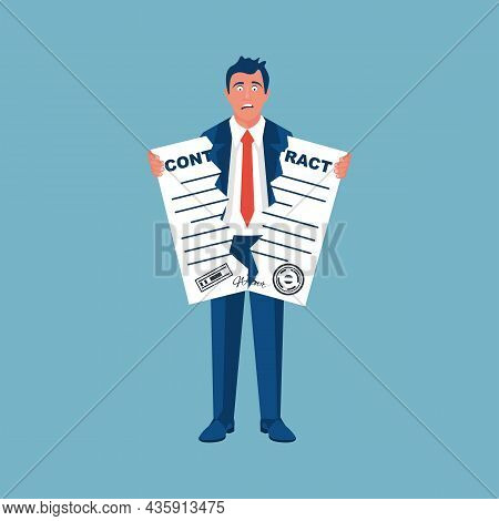 Break Of A Contract. Businessman Tearing Contract. Vector Illustration Flat Design. Isolated On Back