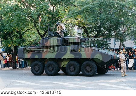Madrid, Spain - October 12, 2021: Mowag Piranha Armoured Fighting Vehicle During Spanish National Da