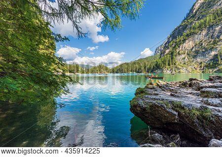 Lago Di Braies, Italy - Sept 6, 2021: Pragser Wildsee Or Lago Di Braies (lake Braies) And Mountain R