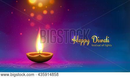 Happy Diwali Vector Illustration. Festive Diwali Card. Design Template With Lamp, Golden Lights, Col