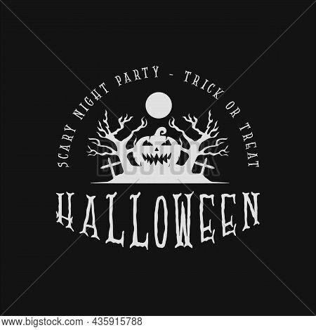 Pumpkin And Horror Tree Halloween Logo Vintage Vector Illustration Template Icon Design