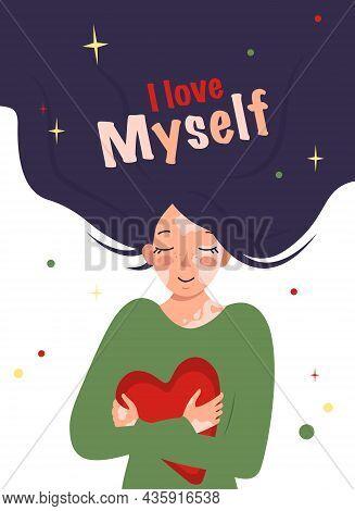 Beautiful Girl With Long Hair And With Vitiligo Hugs Heart. Inscription I Love Myself. Vector Illust