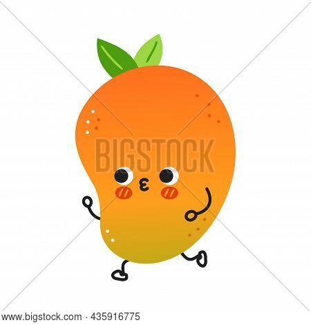 Cute Funny Mango Fruit Jogging. Vector Hand Drawn Cartoon Kawaii Character Illustration Icon. Isolat