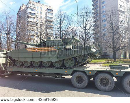 Saint Petersburg, Russia 04.30.2021 - Military Equipment, Tank On Street. Preparations Of Military V