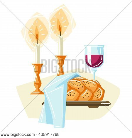 Shabbat Shalom Background With Religious Objects. Background With Jewish Symbols. Judaism Concept Il