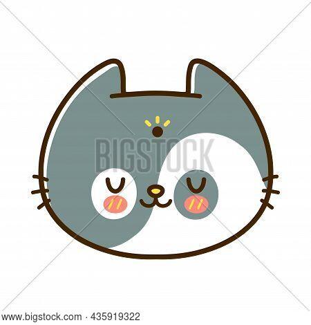 Cute Funny Little Baby Cat Face. Vector Hand Drawn Cartoon Kawaii Character Illustration Logo Icon.