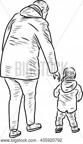 Contour Drawing Of Mother With Her Baby Walking For A Stroll